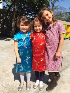 Mae with friends at her classes CNY celebration