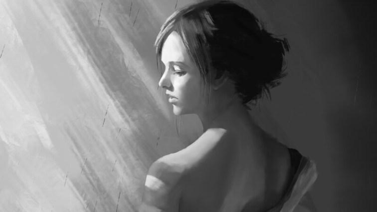 Девушка,черно-белая