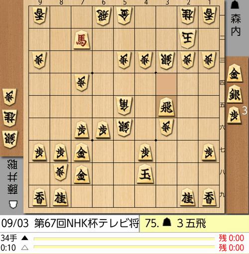 9月3日NHK杯75手目棋譜