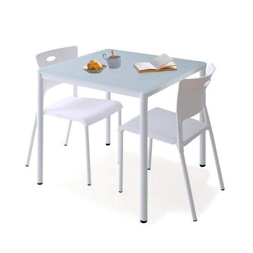 ロウヤ(LOWYA) ダイニングテーブル 3点セット ガラステーブル スタッキングチェア