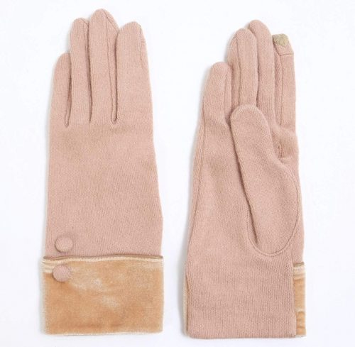 ベロアカフス+装飾ボタン付き ジャージー手袋