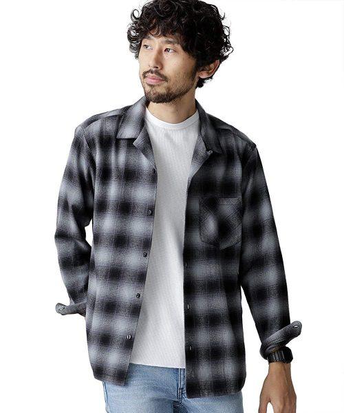 ナノ・ユニバース(nano・universe) 裏配色オンブレー開襟シャツ