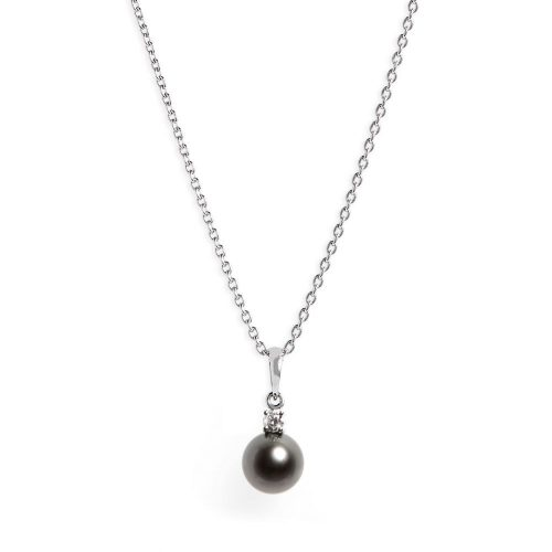 ミキモト(MIKIMOATO) Diamond & Black Cultured Pearl Pendant Necklace