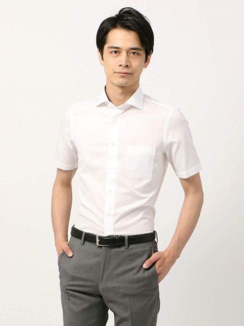 ザ・スーツカンパニー(THE SUIT COMPANY) 半袖・SUPER EASY CARE ホリゾンタルカラードレスシャツ 織柄