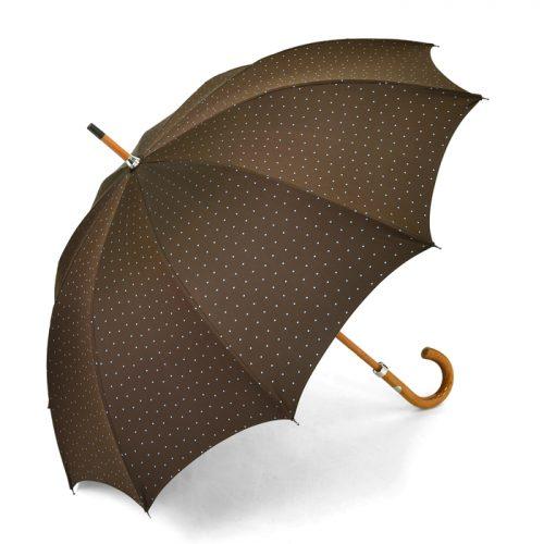 マリアフランチェスコ(Maglia Francesco) 長傘 ブラウンx水色 ドット