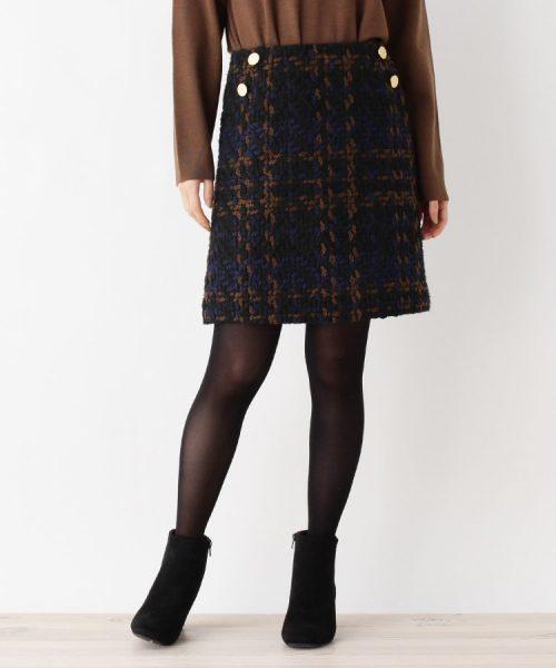 オペークドットクリップ(OPAQUE.CLIP) チェックツイードタイトスカート
