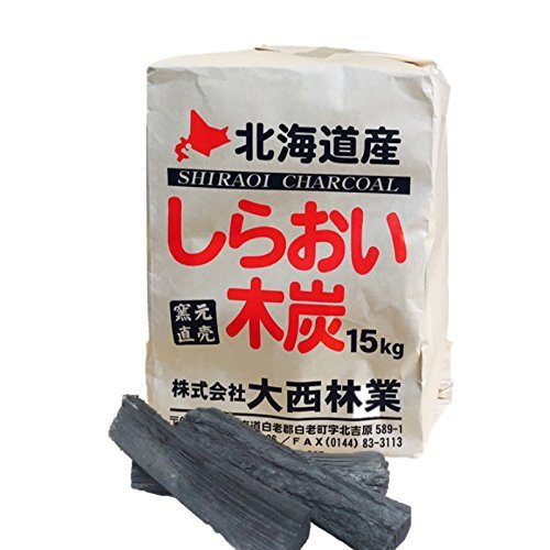 しらおい木炭 15kg ナラ・切り 北海道産