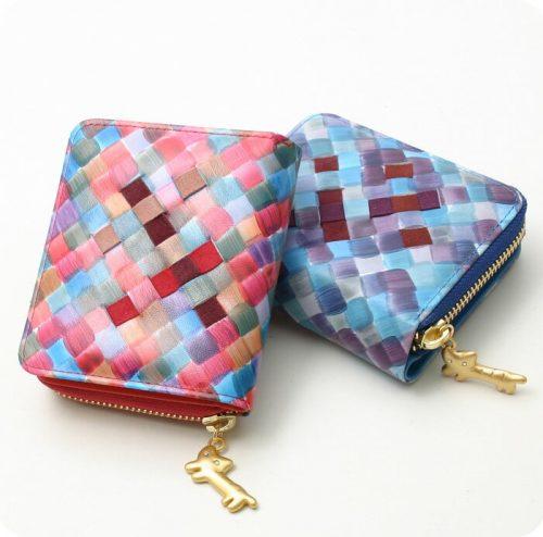 ツモリチサト(TSUMORI CHISATO) メッシュプリントラウンドファスナー二つ折り財布