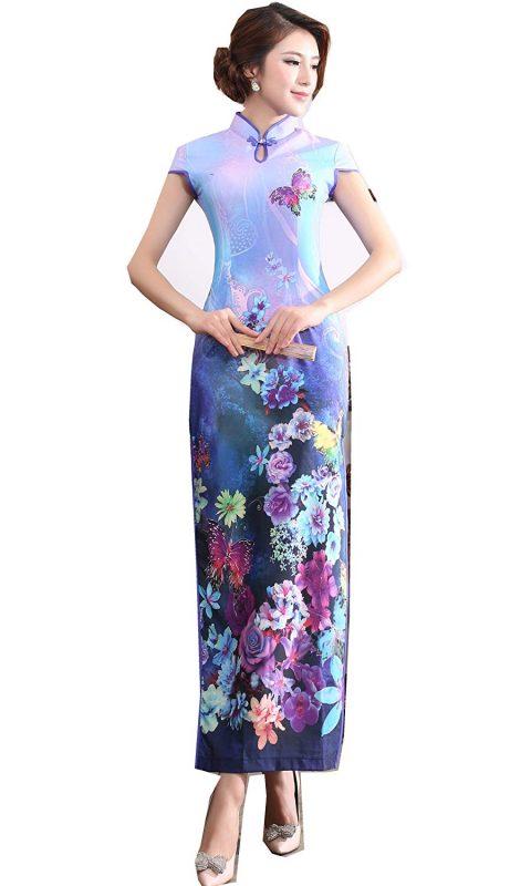 上海物語 花蝶柄チャイナドレス