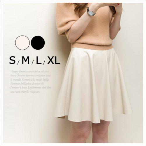 笑顔美人 革 レザー調サーキュラースカート