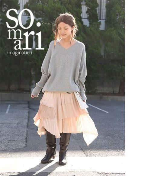 ソマリ(somari) ティアードプリーツアシメスカート