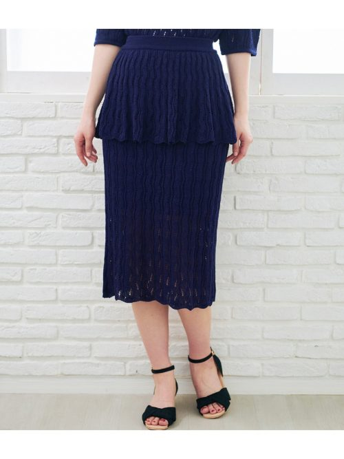 ロペピクニック(ROPE' PICNIC) 透かし編みペプラムスカート