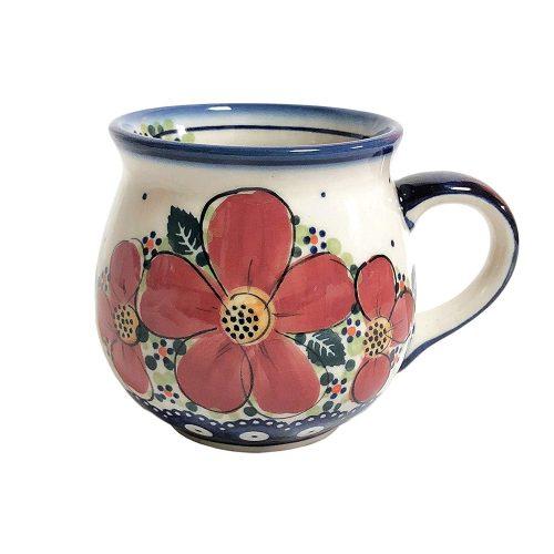 ポーリッシュポタリー(Polish Pottery) 赤い花のマグカップ