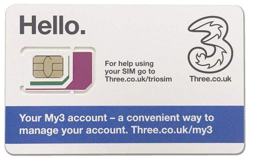 Three UK プリペイド シムカード 12GB