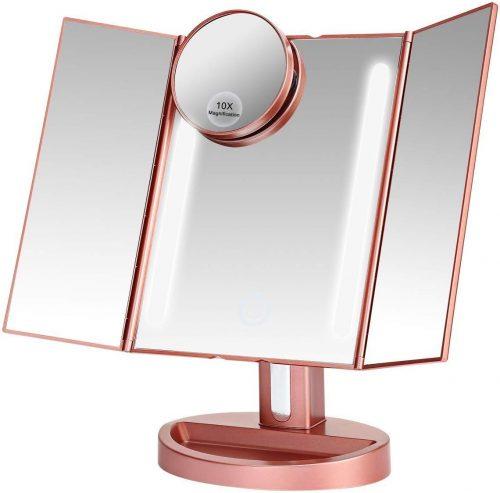 LEEPWEI LED三面鏡 10倍拡大鏡付