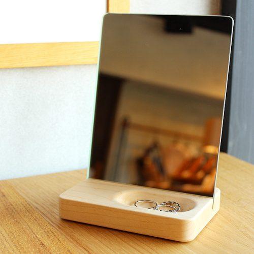 Hacoa おしゃれなトレイ付き木製スタンドミラー Stand Mirror Mini
