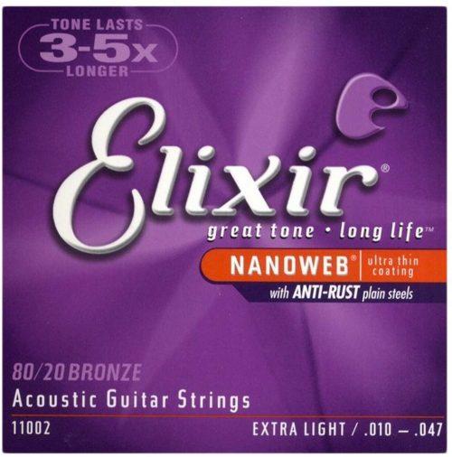 エリクサー(Elixir) アコースティックギター弦 NANOWEB 80/20ブロンズ