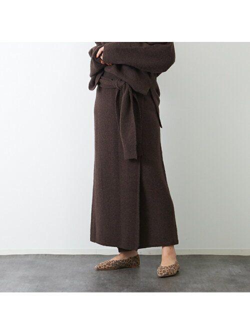 ルージュ・ヴィフ ラクレ(Rouge vif la cle) ヤク混ニットラップスカート