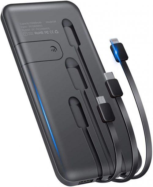 ツネオ(TSUNEO) モバイルバッテリー 3ケーブル 10000mAh