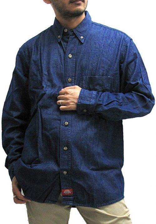 ディッキーズ(Dickies) Long Sleeve Button-Down Denim Shirt