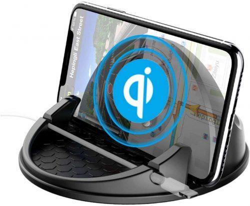 AKIMAKU 2in1 スマホ車載ホルダー Qi ワイヤレス充電器