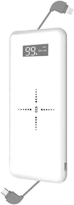 Petasonien モバイルバッテリー 10,000mAh ケーブル内蔵 Qi ワイヤレス充電器