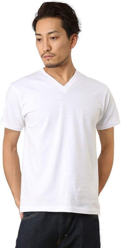 ヘインズ(Hanes) VネックTシャツ プレミアムジャパンフィット HM1-F002