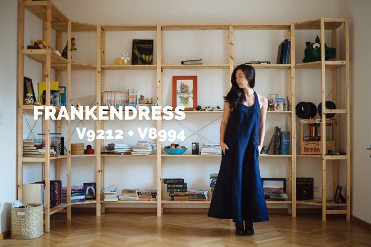 Frankendress with V8994 + V9212 made by Saki Jane - sakijane.com - this dress blends Vogue 8994 and Vintage Vogue 9212 in a dark navy linen sourced in Germany