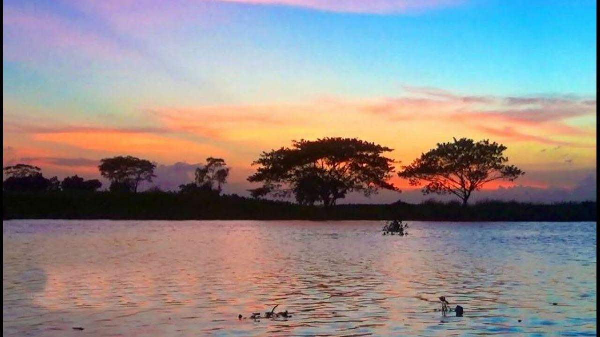 A colourful evening at the bank of Titas river