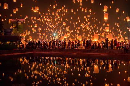 Sky lanterns firework festival,