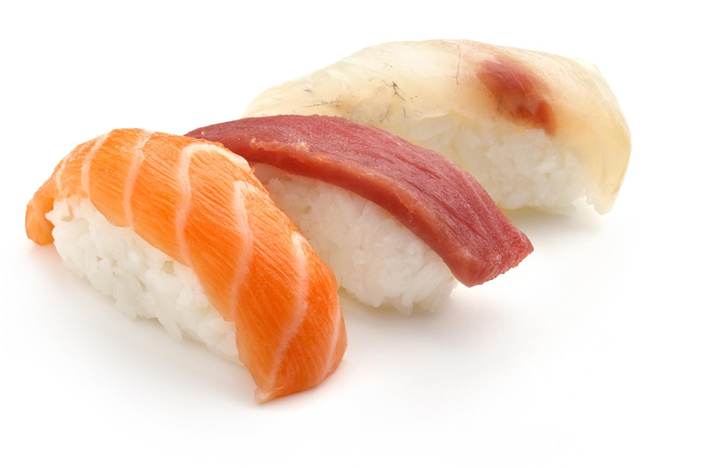 nigiri sushi of salmon, tuna and sea bass