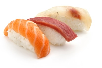 nigiri sushi of salmon, tuna and sea bass