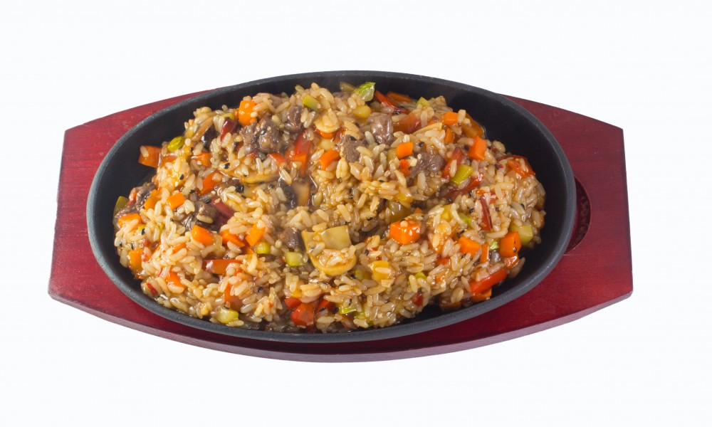 Japanese Cuisine - Fried Rice with Vegetables and Chicken  background
