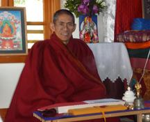 Khenpo Pema in shrine room