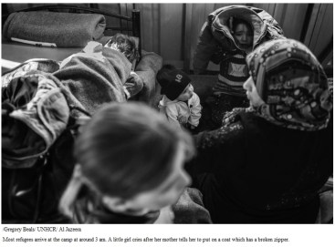 Most refugees arrive at the camp at around 3 am. A little girl cries after her mother tells her to put on a coat which has a broken zipper.