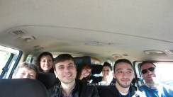 Our van is full of volunteers, on our way to our first clinic