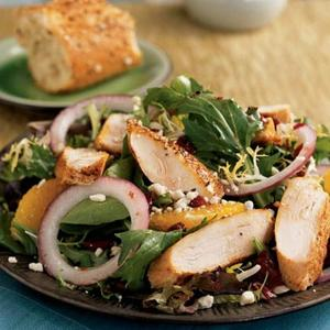 Spiced Chicken And Greens With Pomegranate Dressing