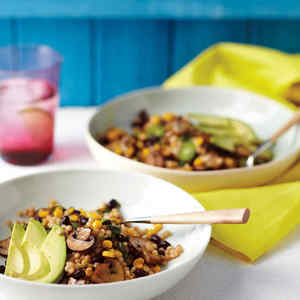 Couscous Salad with Black Beans, Mushrooms, and Corn