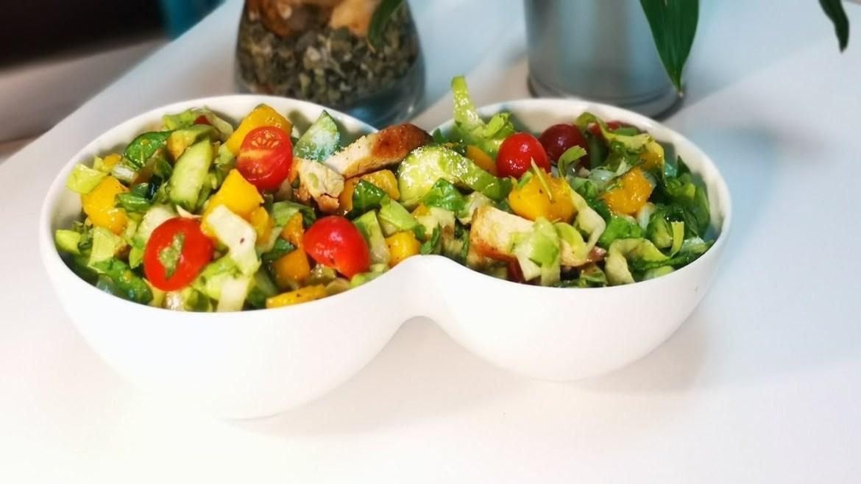 Healthy Mango Avocado Chicken salad recipe with homemade salad dressing