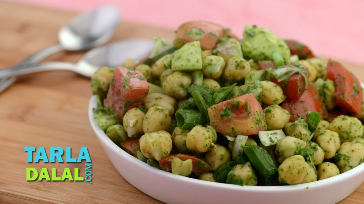 Chick Pea Salad with Mint Dressing (Low Cholesterol) by Tarla Dalal