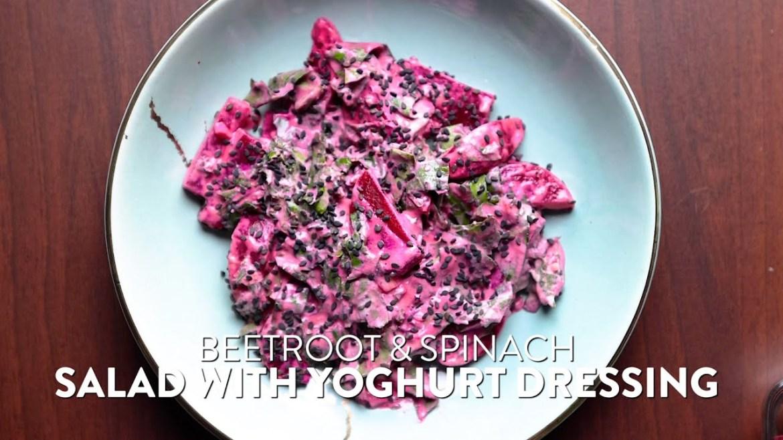 Beetroot & Spinach Salad with Yogurt Dressing | Simple Healthy Homemade Vegetarian Salad Recipe
