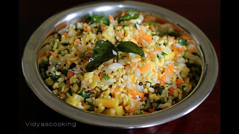 Mango Kosambari Recipe (Southindian Mango and Mung Bean Vegan Salad)