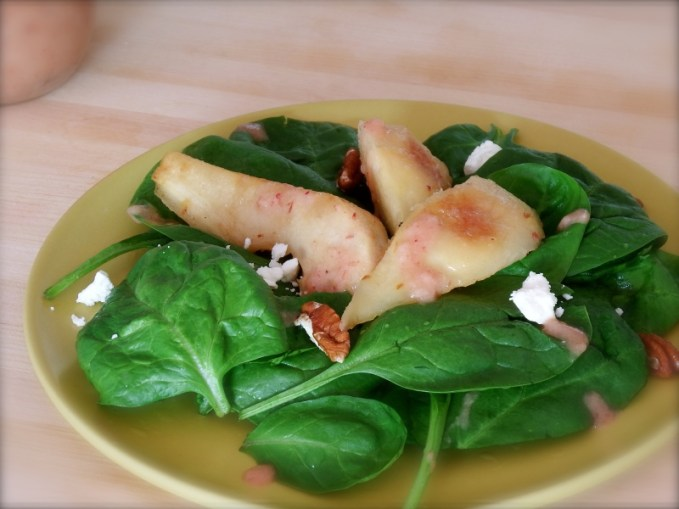 Spinach, Pan Roasted Pears & Pecans with Ginger Cranberry Vinaigrette