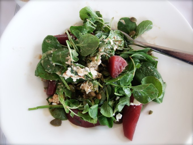 Baby Spinach, Poached Pears & Goat Cheese – Balsamic Vinaigrette