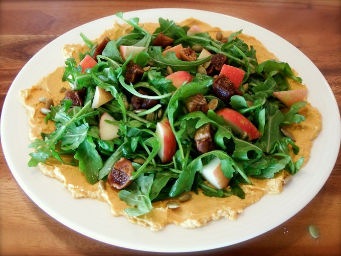 Arugula, Apples, & Figs Salad With Pumpkin – Goat Cheese Garnish