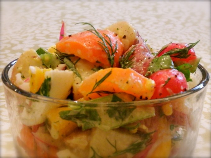 Potato & Vegetable Salad with Raspberry Dill Dressing