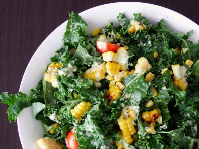 Kale & Pan Grilled Corn with Herbed Goat Cheese Dressing