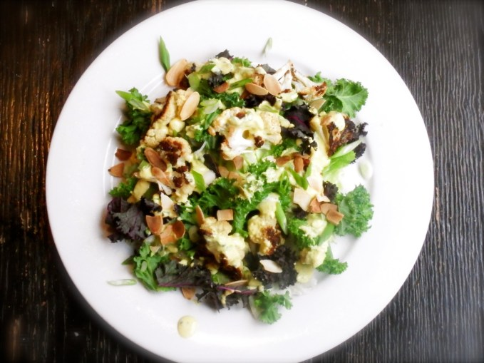 Hardy Greens with Roasted Cauliflower, Almonds and Creamy Scallion Dressing