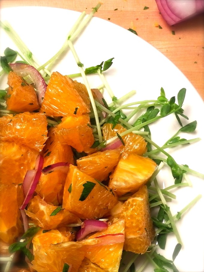 Oranges With Fresh Herbs & Pea Shoots