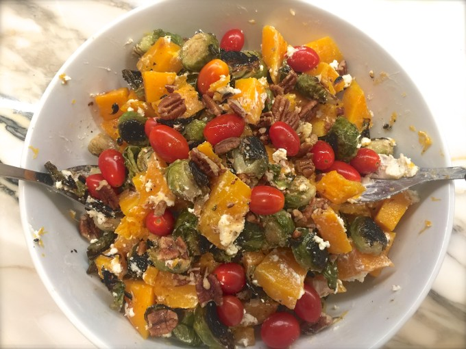 Roasted Brussels Sprouts, Butternut Squash & Goat Cheese… Maple Syrup Vinaigrette